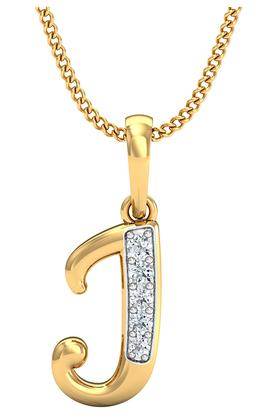 P.N.GADGIL JEWELLERS Womens The 'J' Diamond Pendant DJPD-206