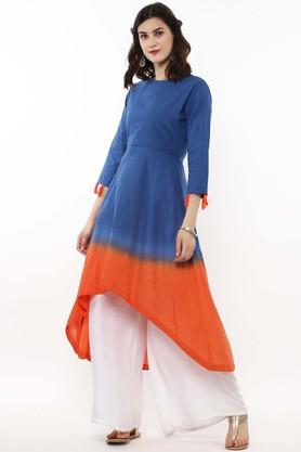 SASSAFRAS Womens Round Neck Colour Block Asymmetrical Kurta