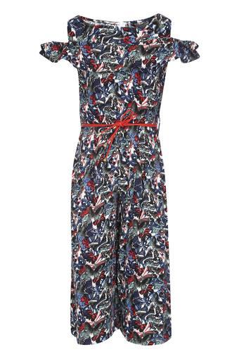 Girls Boat Neck Printed Jumpsuit