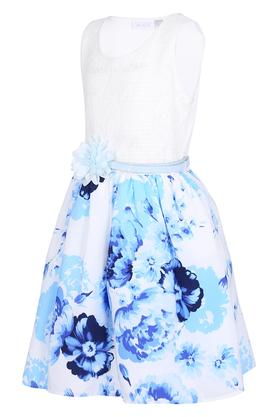 Girls Round Neck Lace Printed Dress