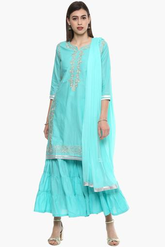 Womens Notched Neck Embroidered Sharara Suit