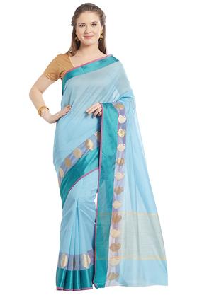 JASHN Womens Solid Tissue Saree With Zari Border - 203329080