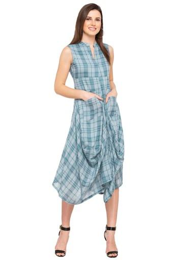 Womens Mandarin Collar Checked Cowl Dress