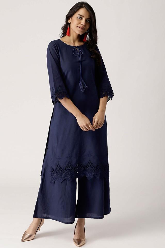 Womens Tie Up Neck Solid Kurta and Palazzo Set