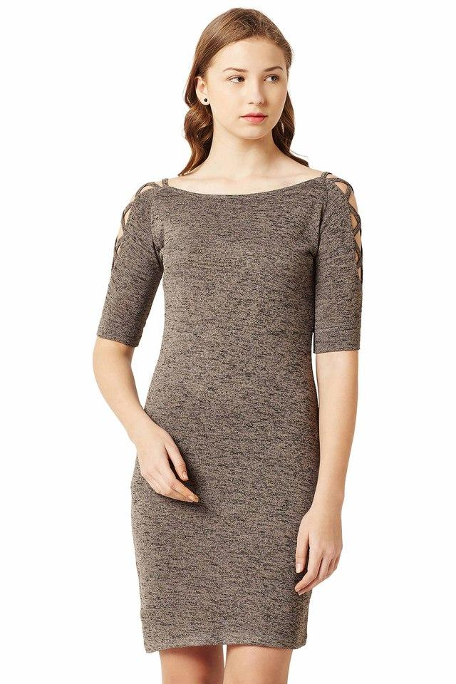 Womens Boat Neck Textured Bodycon Dress