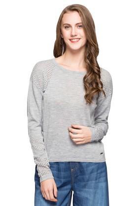 ELLEWomens Round Neck Slub Sweatshirt