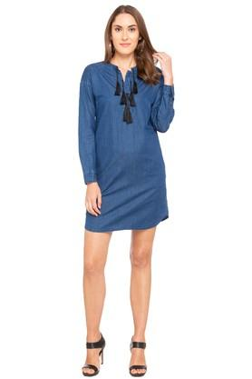 Womens Mandarin Neck Washed A-Line Dress
