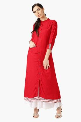 LIBAS Womens Band Neck Solid A-Line Kurta With Front Pocket Style