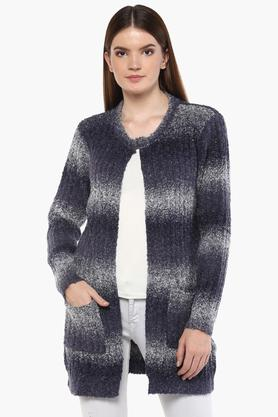 ONER Womens Round Neck Printed Cardigan