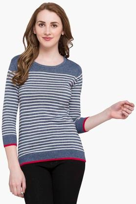 STOP Womens Round Neck Stripe Sweater - 203507795