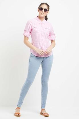 Womens 2 Pockets Checked Shirt