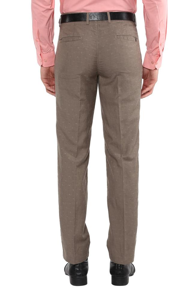 Mens 4 Pocket Self Printed Formal Trousers