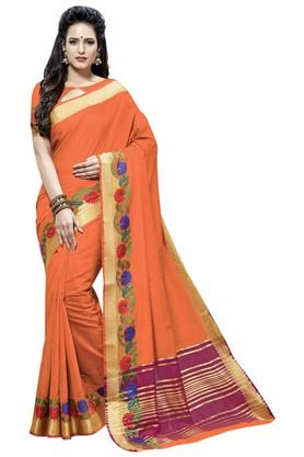 ASHIKA Plain Cotton Silk Saree With Blouse Piece - 204034545_9506