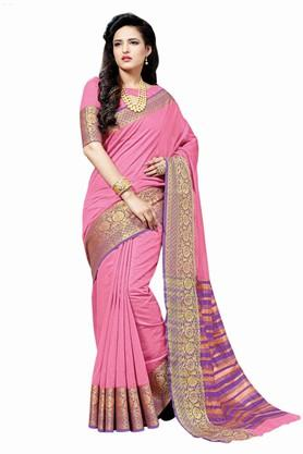 ASHIKA Plain Cotton Silk Saree With Blouse Piece - 204034534_9552