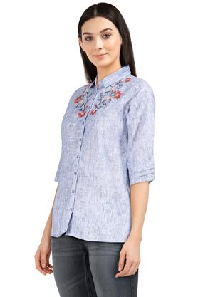 Womens Collared Slub Embroidered Shirt