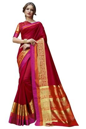 DEMARCAWomens Solid Gold Woven Saree With Blouse Piece