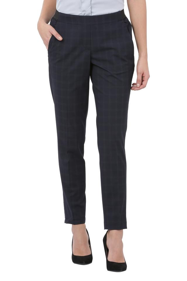 Womens 4 Pocket Checked Trousers