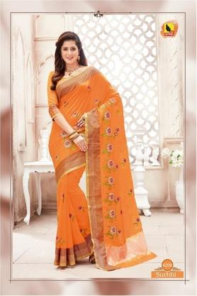 ASHIKA Womens Embroidered Saree With Blouse Piece - 204577041_9508