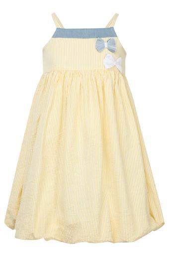Girls Square Neck Striped A-line Dress