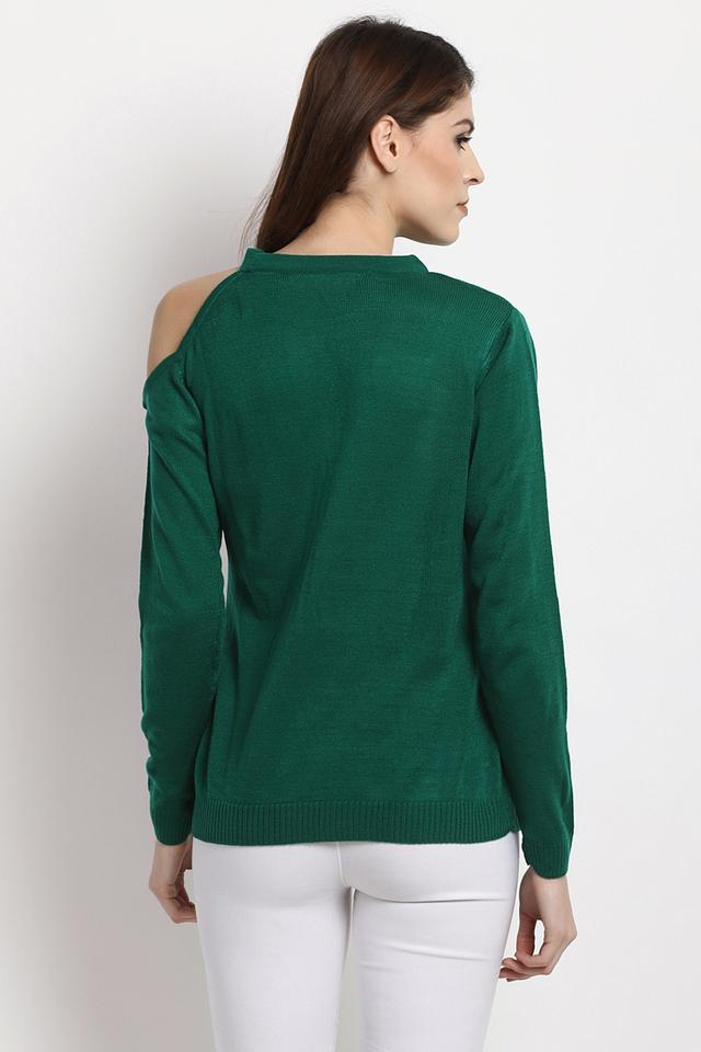 Womens Round Neck Embellished Pullover