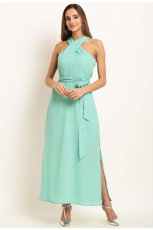 Womens Halter Neck Solid Maxi Dress