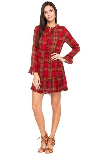 Womens Tie Up Neck Check Skater Dress