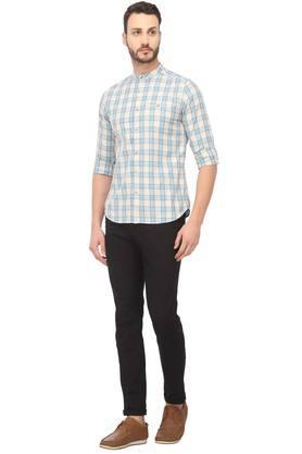 Mens Band Collar Checked Shirt