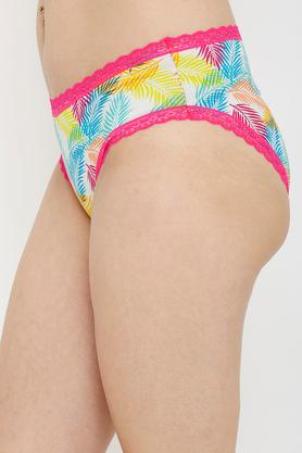 Womens Mid Rise Leaf Printed Hipster Briefs