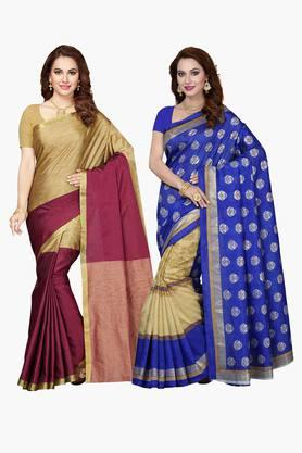 ISHIN Womens Bhagalpuri Art Silk Printed Saree - Set Of 2 - 203260382