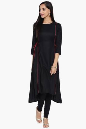 ARAH Womens Solid Side Tie Up Kurta