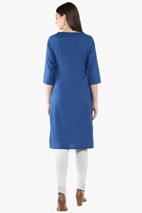 Womens Round Neck Embroidered Kurta