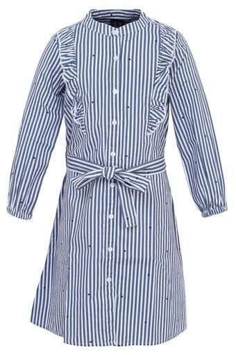 Girls Mandarin Collar Striped Dress