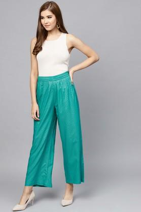 Womens Self Pattern Casual Palazzos