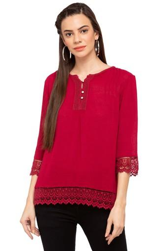 Womens Henley Neck Lace Top