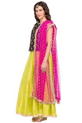 Womens Round Neck Embroidered Ghaghara Choli Set