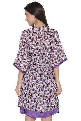 Womens Spaghetti Neck Printed Night Dress and Robe