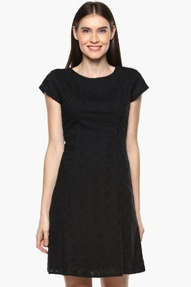 Womens Round Neck Self Pattern A-Line Dress