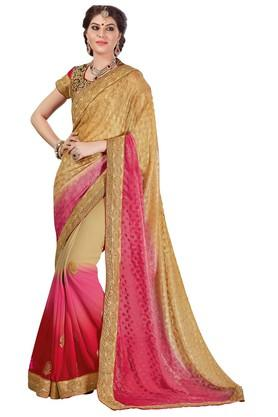 ASHIKA Plain Georgette Silk Saree With Blouse Piece - 204034606_7086