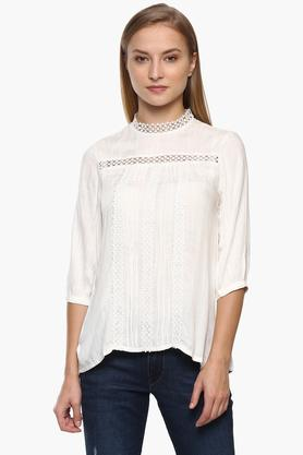 Womens Band Neck Lace Top