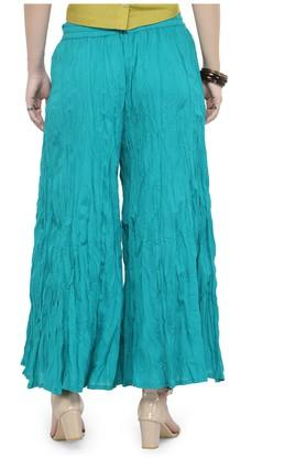 Women wrinkled mid-rise solid palazzo