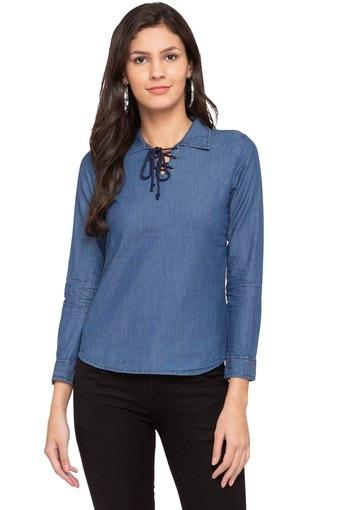 Womens Collared Tie Up Assorted Top