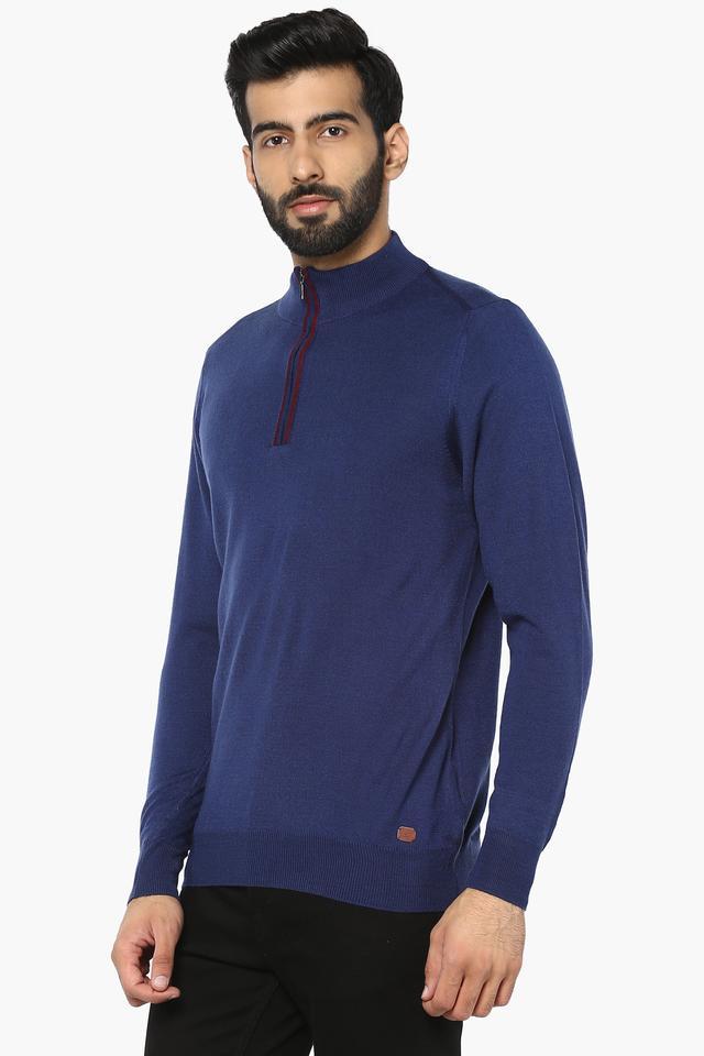 Mens Zip Through Neck Solid Pullover
