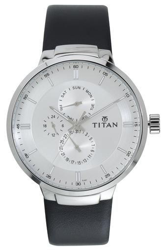 Mens White Dial Leather Multi-Function Watch - 90093SL01