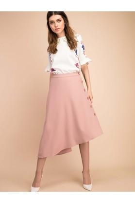 COVER STORY Womens Solid Asymmetrical Skirt