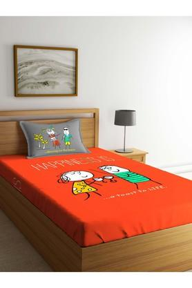 PORTICO Printed Single Bed Sheet With Pillow Cover - 203990077_9900