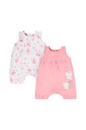 Kids Round Neck Printed Rompers - Pack Of 2