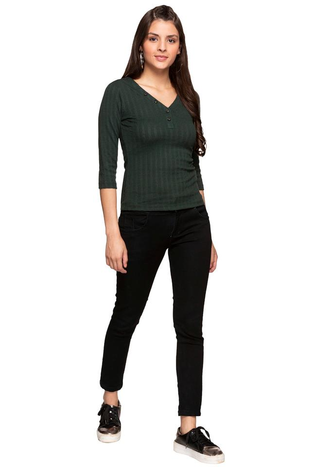 Womens V Neck Solid Knitted Top