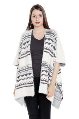 FUSION BEATSWomens Open Neck Knitted Pattern Shrug