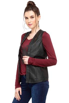 Womens Open Neck Solid Jacket