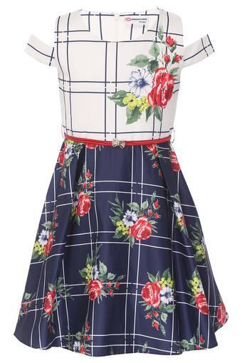 Girls Round Neck Floral Print Flared Dress with Belt